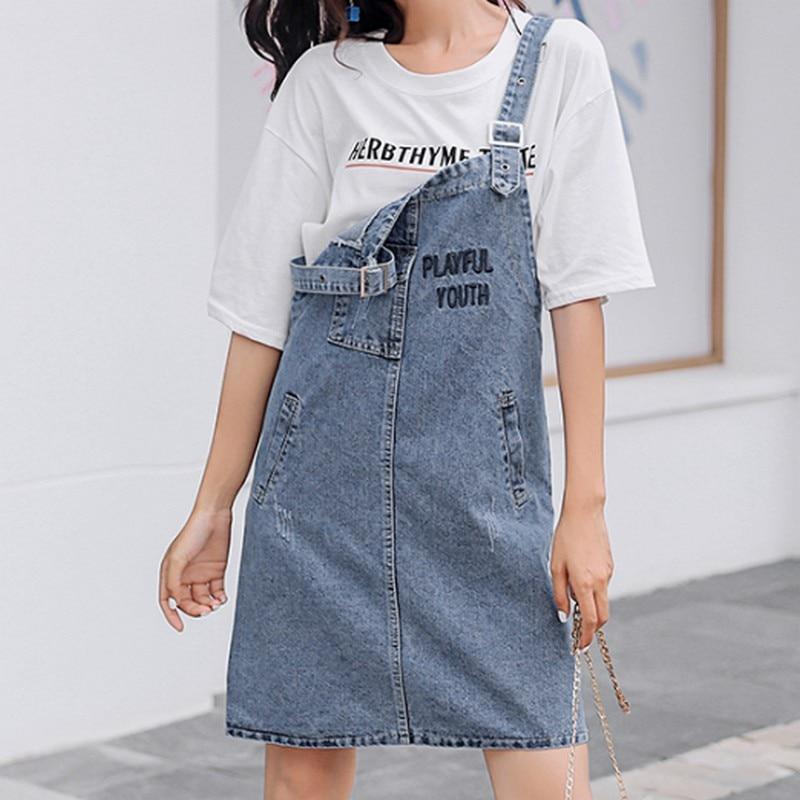 S-5XL Plus Size Strap Denim Dress Women Casual Vintage Summer New Loose Jean Pocket Letter Embroidery Female