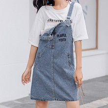 S-5XL Plus Size Strap Denim Dress Women Casual Vintage Summer New Loose Jean Pocket Letter Embroidery Female