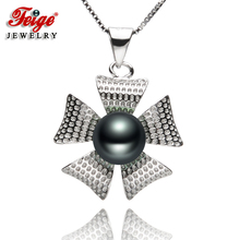 New arrival Flower-shaped 925 Sterling Silver Pearl Pendant Necklaces 7-8mm Black Freshwater Pearls Womens Jewelry