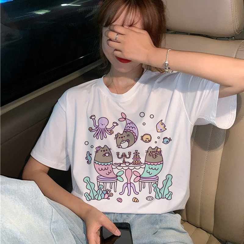 Pusheen Cat   T     Shirts   Women Harajuku Funny Cartoon Kawaii   T  -  shirt   Ullzang Cute 90s Graphic Korean Tshirt Fashion Top Tees Female