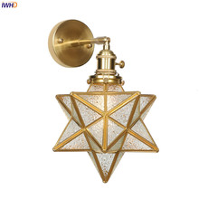 IWHD Nordic Copper LED Wall Lamp Creative Glass Stars Light Switch Golden Bathroom Lights Simple Fixtures For Home Lighting
