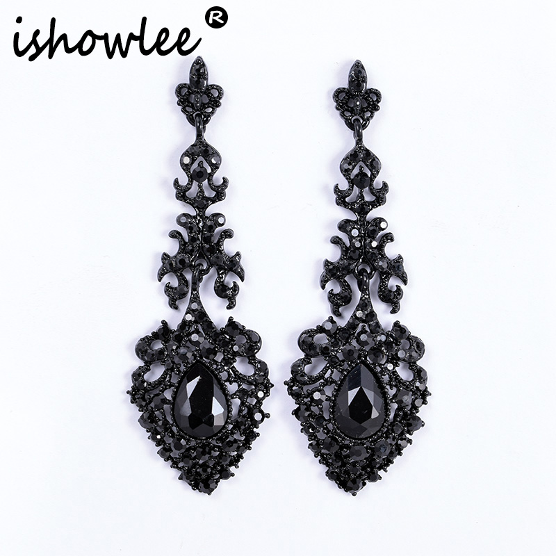 ISHOWLEE Large Black Drop Earrings Austria Crystal Long Luxury Rhinestones Wedding Earrings For Women 2019 Trendy Jewelry Esh16