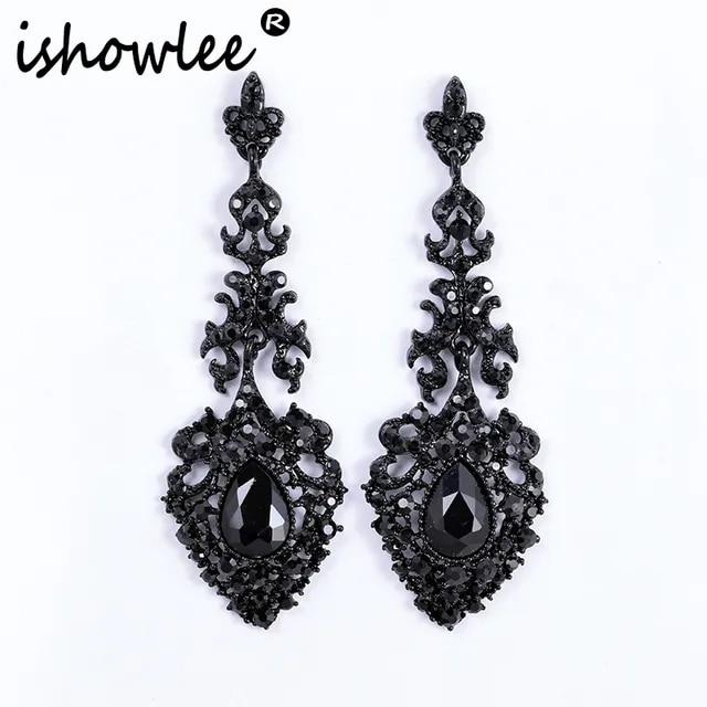 ISHOWLEE Large Black Drop Earrings Austria Crystal Long Luxury Rhinestones Wedding Earrings for Women 2019 Trendy Jewelry esh16