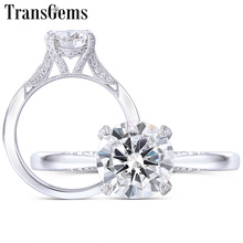 TransGems 14K White Gold Center 1.5ct 7.5MM Round F Color Moissanite Ring with Accents for Women Vintage Engagement Bridal Set