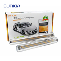 SUNKIA 2Pcs Set LED DRL Daytime Running Light Fog Lamp With Flowing Yellow Turn Signal Lamp