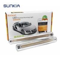 SUNKIA 2Pcs Set LED DRL Daytime Running Light Fog Lamp With Flowing Yellow Turn Signal Lamp