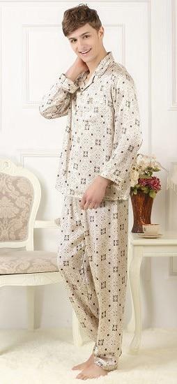 100%, Silk Silk Pajamas Set, Men's Silk Home Wear, Long Sleeve Trousers, Coffee Block Printing, Big Size, Loose Burst 6