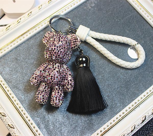 Llavero popobe oso llaveros bling AB púrpura de cristal cordón de cuero borla para popobe oso clave encantos del bolso lindo de mano charm bug