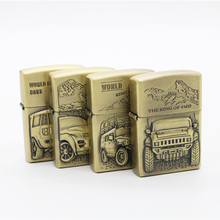 Sculpture Bronze Kerosene Lighter Gasoline Petroleum Refillable Cigarette Metal Retro Men Car pattern