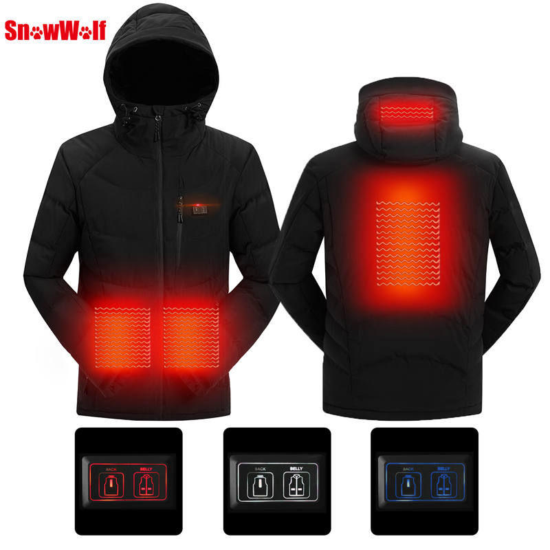 SNOWWOLF 2018 Men Winter Outdoor USB Infrared Heating Hooded Jacket Electric Thermal Clothing Coat For Sports