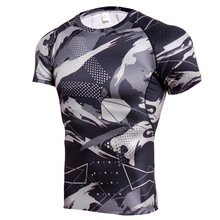 2019 new summer men sweatshirts quickly dry elastic short sleeve T-shirts running jogging casual fitness gym workout shirts