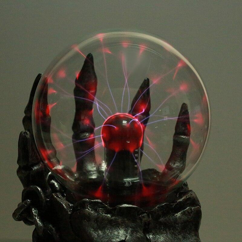 1 pièce Trésor Crâne Tactile Électronique Lumineux Boule Magique Forme Plasma Sphère Nébuleuse Foudre Lampe 10 cm