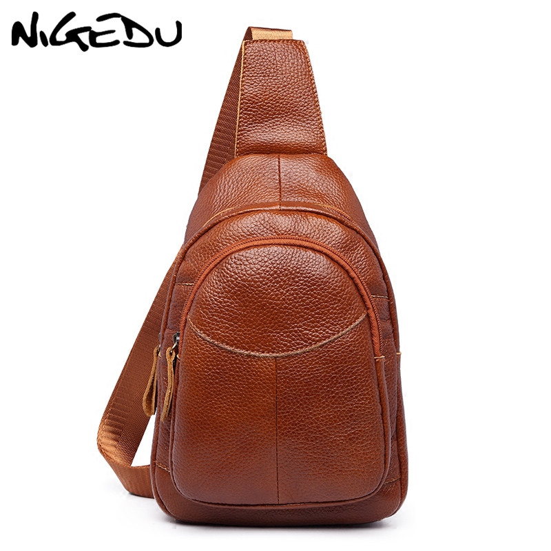 NIGEDU Vintage Genuine Leather Men Chest Bag Women Single Shoulder Strap Back Bags Travel Women Crossbody Bags Waist Belt Bag