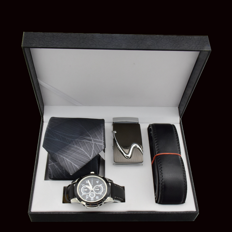 Valentine's Day Men Watch Gift Set Quartz Wrist Watch Leather Belt Tie For Father Gift New Year's Gift Business Gift Box high quality men s business gift set sunglasses belt boy birthday surprise quartz watch gift box new year s gift including box