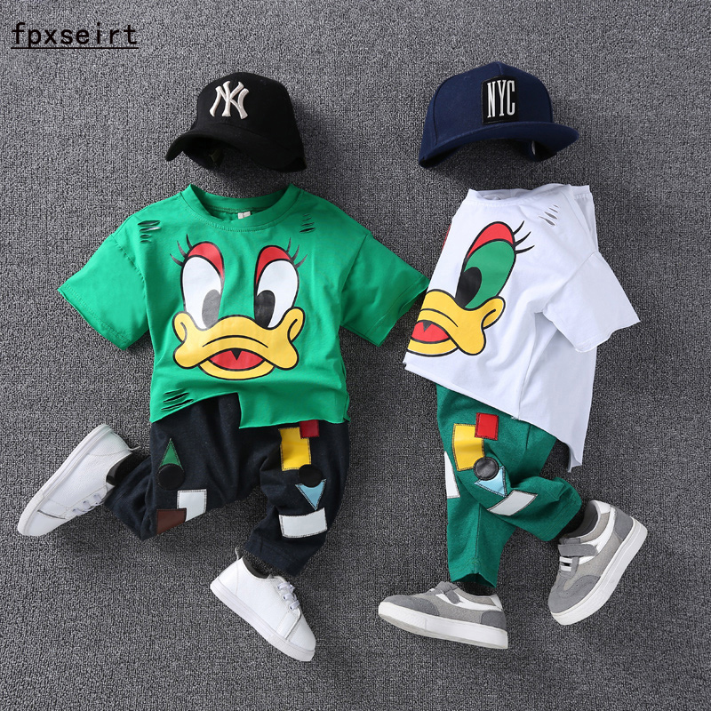 Children short sleeve suit boy summer 2017 new Korean version 3456 year old baby two sets of cotton cartoon children's clothing stylish elephant watercolor pattern square shape flax pillowcase without pillow inner