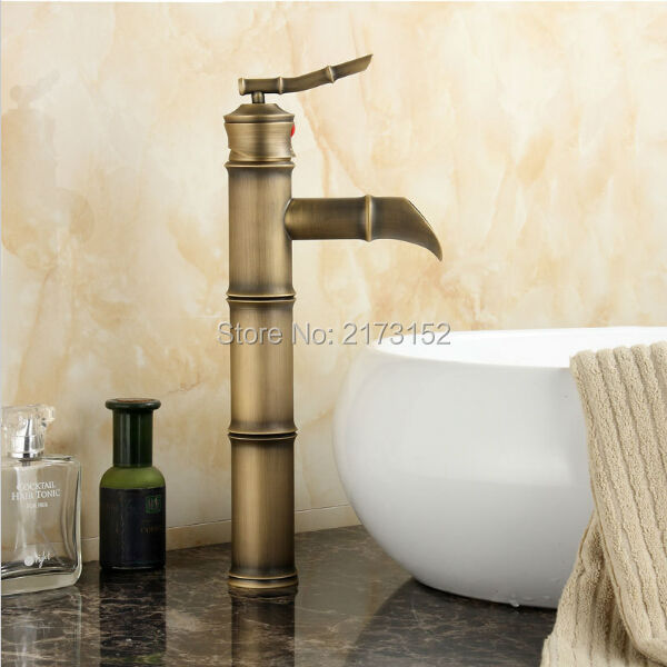 Free Shipping Bamboo Shape Tall Antique Brass Bathroom Faucet ...