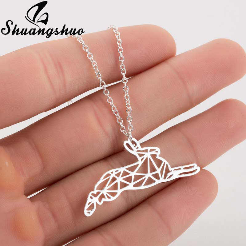Shuangshuo Cute Bunny Necklace For Women Necklaces & Pendants Stainless Steel Animal Origami Chokers Long Chain Collares