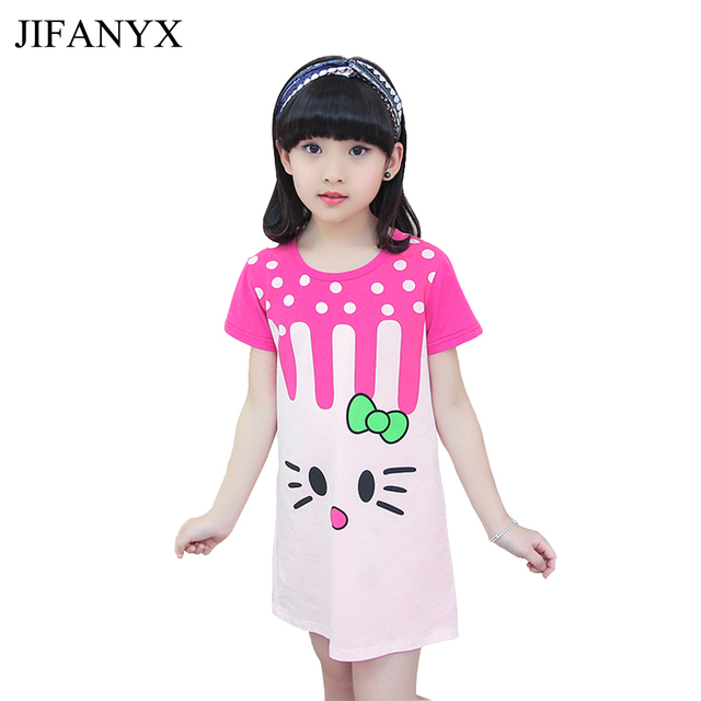 ab684da04086 JIFANYX Girls Summer Sleepwear Kids Night Dress Nightgowns Cotton ...