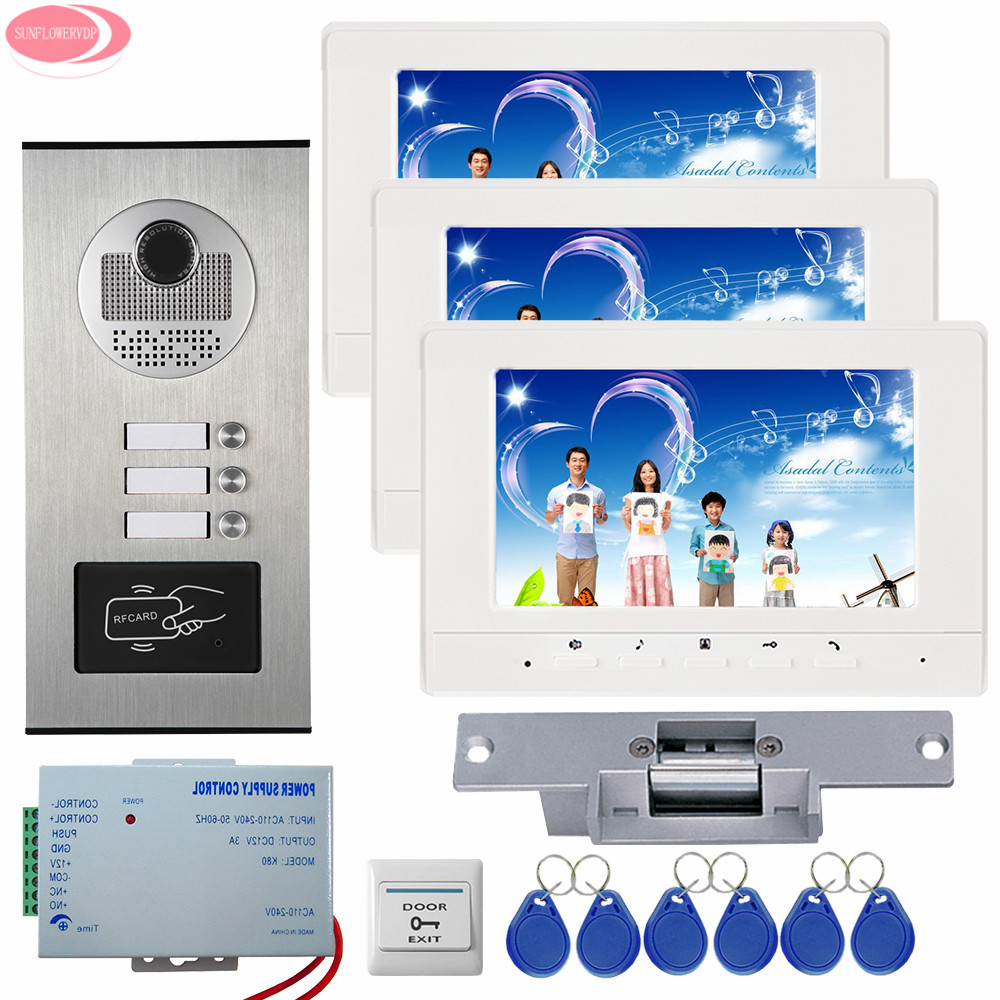 Doorphone with 3 Monitors With 3 Buttons 7inch Rfid Home Phone Intercoms Video Intercom For The Apartment+Electric Strike Lock