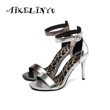 AIKELINYU Sexy High Thin Heels Sandals Lady Shoes Party Cowhide Pump 2019 Fashion Round Head Wedding Elegant Woman