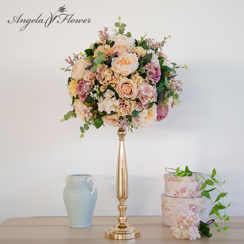 European retro artificial rose flower ball with Iron candlestick DIY wedding party decoration flower Road Cited