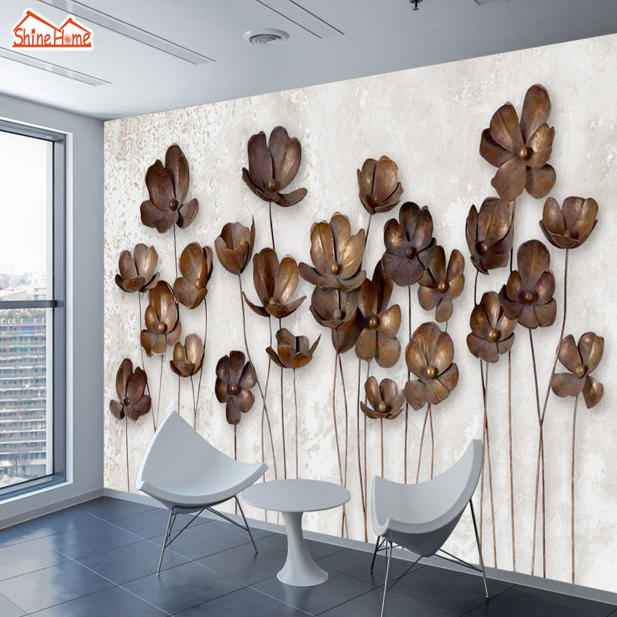 ShineHome-Large Photo Wallpapers Walls 3d Living Room Modern Embossed Flower Nature Non Woven Wall Mural Rolls Wall Paper Decor custom wallpaper for walls 3 d photo wall mural pastoral country road tv walls 3d nature wallpapers for living room
