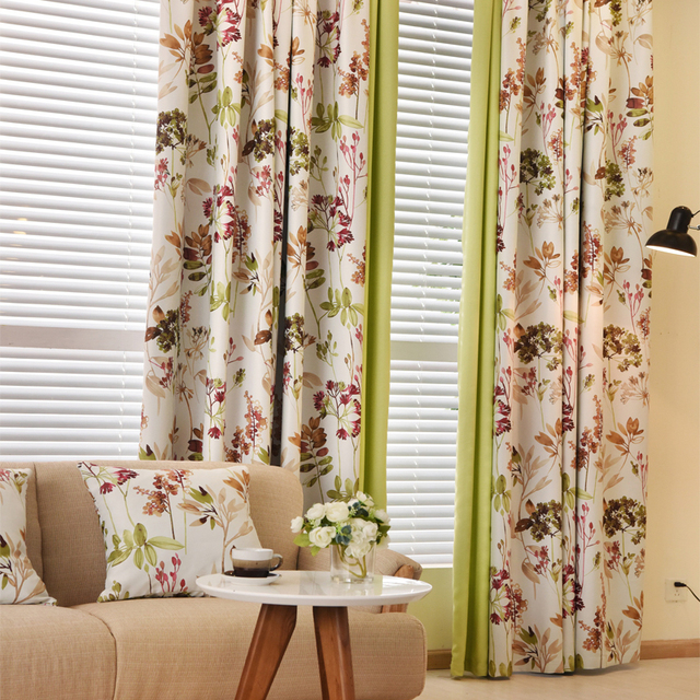Floral Curtains Modern Country Blackout For The Bedroom Thick Living Room Window