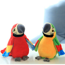 Electronic Talking Parrot Plush Toys Cute Speaking and Recording Repeats Waving Wings Electric Bird Stuffed Plush Toy Kids Toy