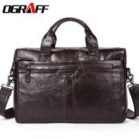 OGRAFF Genuine Leather Men Bag Handbags Briefcases Shoulder Bags Laptop Tote Bag Men Crossbody Messenger Bags