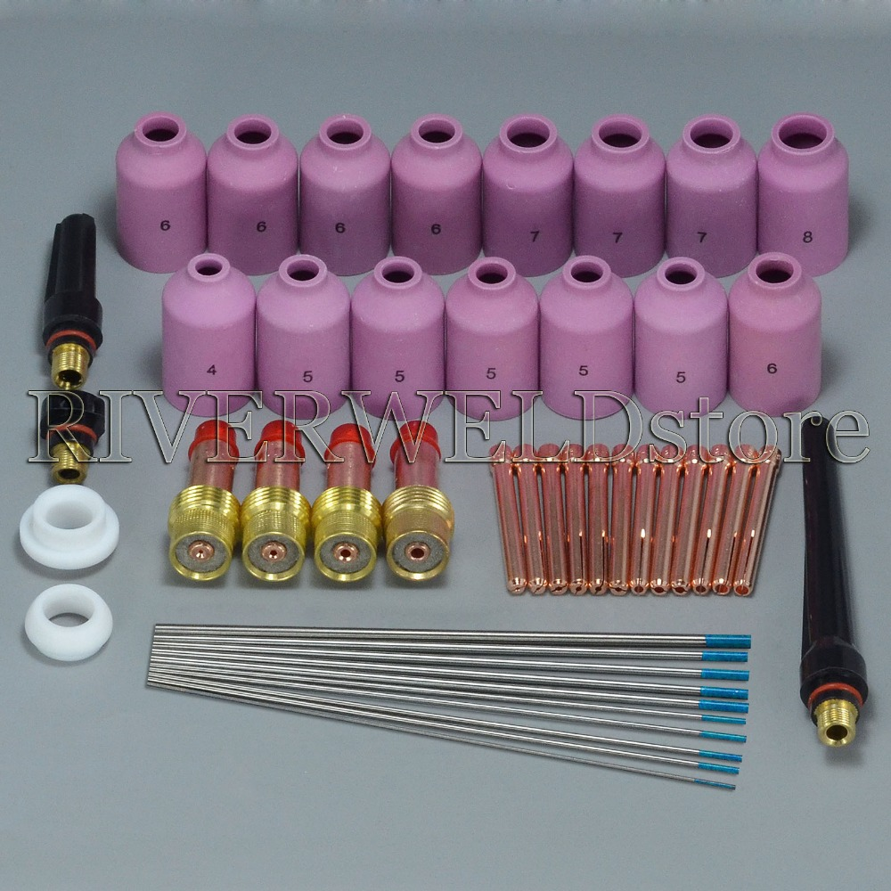 TIG KIT Gas Lens Collet Body & Ceramic Nozzles & Back Cap Fit WP-17/18/26 TIG Welding Torch Consumables Accessories,46pk tig 26 wp 26 wp26 wp 26 tig 26 tig welding torch dinse connection quick connector gas electric seperated 4m