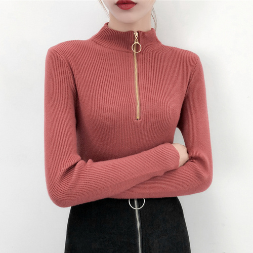 Enthusiastic Ailegogo Autumn Winter Women Turtleneck Zipper Sweater Casual Slim Knitted Clothing Tops Female Black White Red Knit Shirt Clear And Distinctive