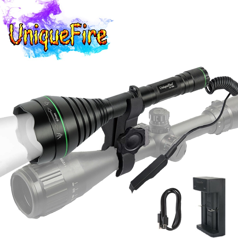 UniqueFire IR 940nm 1508 Flashlight 67mm Lens Night Vision Torch Lamp LED Light For Hunting with USB Charger, Mount,Tail Switch