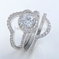Victoria Wieck Vintage Jewelry Topaz Simulated Diamond 10KT White Gold Filled 3 In 1 Engagement Wedding