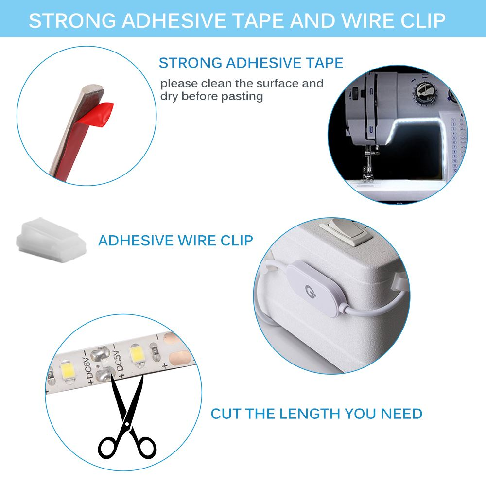 6500K USB Sewing Machine Light Houkiper 5V 3.6W 30CM Super Bright Sewing Strip Light 18 LEDs with Touch Dimmer IP55 Waterproof for Cabinet TV Background