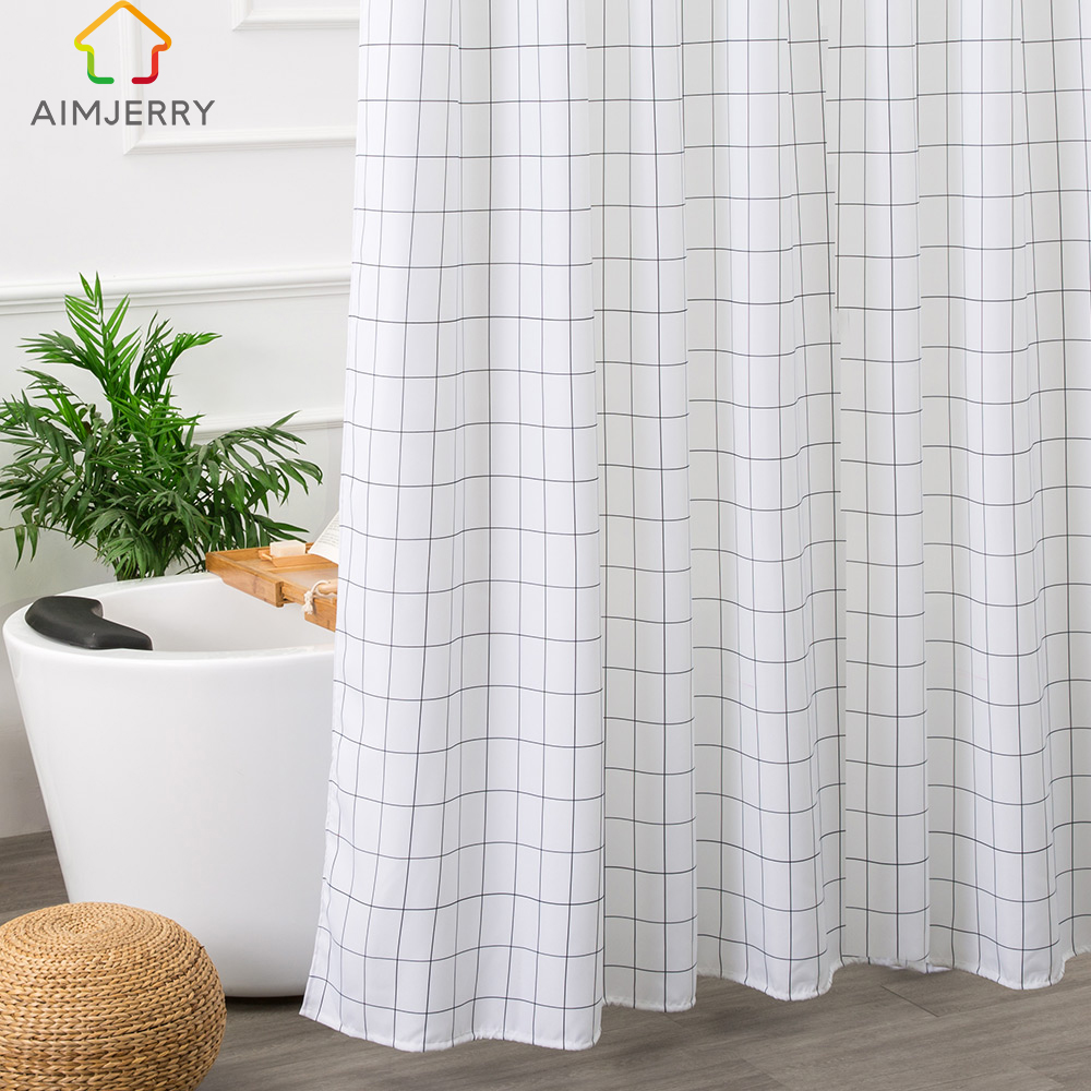 Aimjerry White and Black Bathtub Bathroom Fabric Shower Curtain  with 12 Hooks 71Wx71H High Quality Waterproof and Mildewproof
