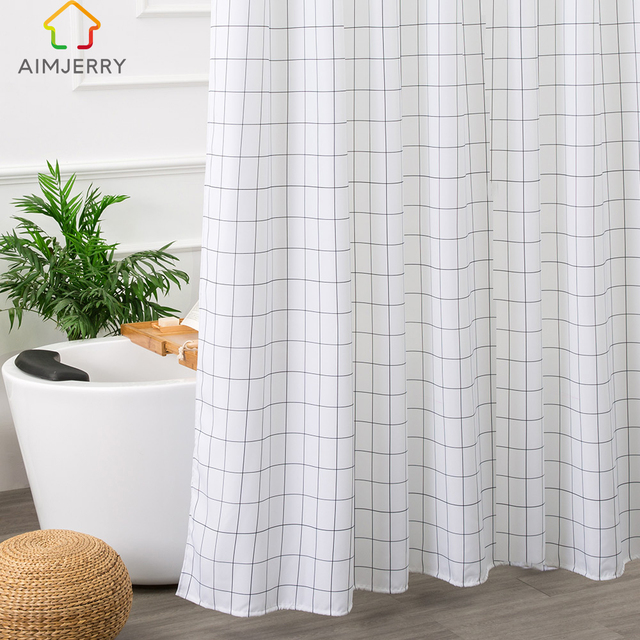 Aimjerry White And Black Bathtub Bathroom Fabric Shower Curtain With 12  Hooks 71Wx71H High Quality Waterproof