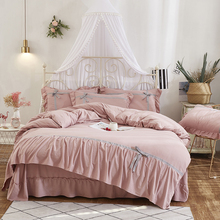 Korean Style Pink Gray Purple Blue Washed Cotton Girls Bedding Set Bowknot Duvet Cover Ruffle Bed Sheet Linen Pillowcases