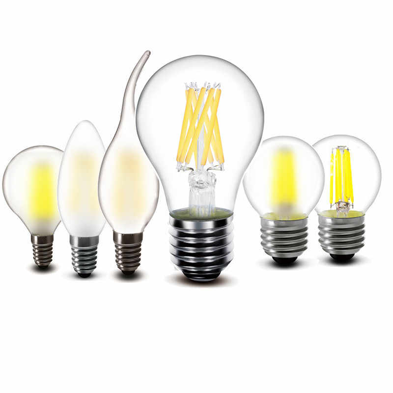2w 4w 6w 8w COB Led Blub E27 E14 220V 230V A60 G45 C35 Globe Frosted fliament LED Bubble Ball Lamp light Flame Bulb