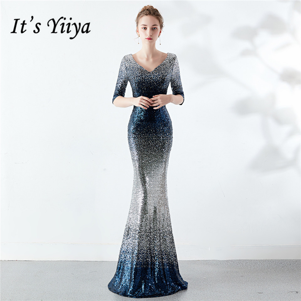 It's Yiiya Evening Dress Royal Gold Bule V-neck Sequined Party Gowns Half Sleeves Sexy Backless Zipper Back Prom Dresses C191