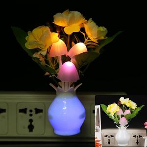 Image 3 - LED Colorful Flower Night Lights Luminous Lamp EU Plug Sensor Night Lamp Romantic Home Decoration for Baby Bedroom