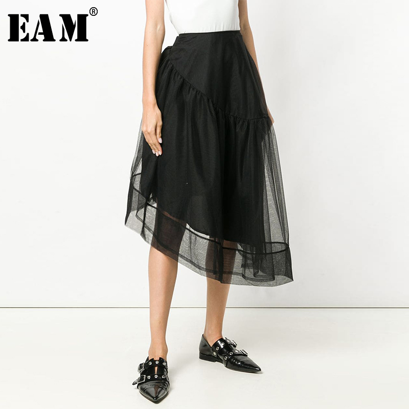 [EAM] 2020 New Spring Summer High Elastic Waist Black Irregular Mesh Bandage Bow Half-body Skirt Women Fashion Tide JX427