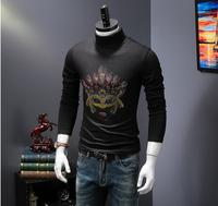 Men S Winter Hot Drilling Collar Thick Long Sleeve Tshirt Male With Thin Cashmere Turtleneck