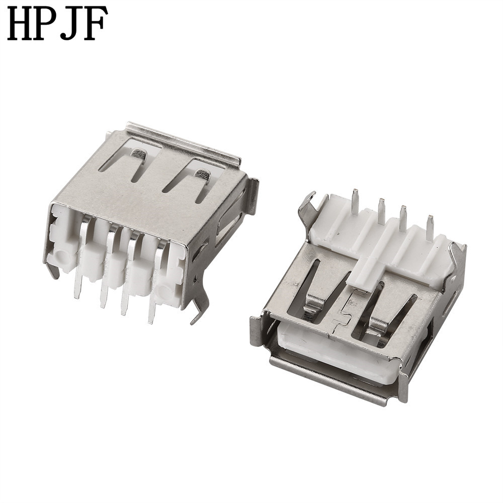 10Pcs/lot USB 2.0 Female A Type Right Angle 90 Degree Female USB Connector Socket 10pcs g45 usb b type female socket connector for printer data interface high quality sell at a loss usa belarus ukraine