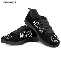 INSTANTARTS Spring Men Casual Lace Up Sneakers Shoes Man's Air Mesh Shoes Black Sneakers for Boy Proud Nurse Pattern Flats Shoes