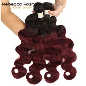 Rebecca Ombre Malaysian Body Wave Bundles 3/4 Pcs Remy 100% Human Hair Bundles 2 Tone Color T1B/27# T1B/30# T1B/99J#