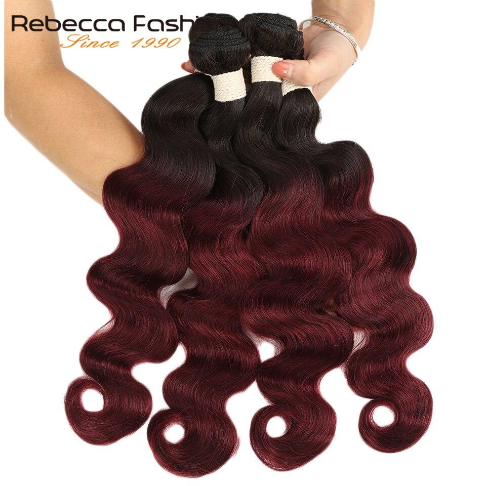Rebecca Ombre malezya vücut dalga demetleri 3/4 adet Remy 100% İnsan saç demetleri 2 ton renk T1B/27 # t1B/30 # T1B/99J #