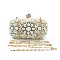 Famous Brand Women Handbags White Crystal Evening Purse Metal Clutches Sliver Beaded Bridal Wedding Box Clutch