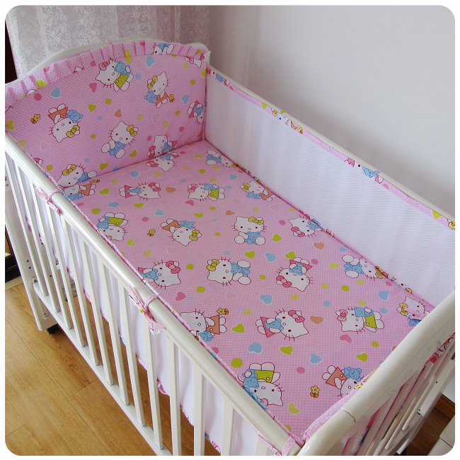 Promotion! 5PCS Mesh Cartoon Crib Bedding Set for Crib Newborn Baby Bed Linens for Girl Boy Cartoon,include(4bumpers+sheet)