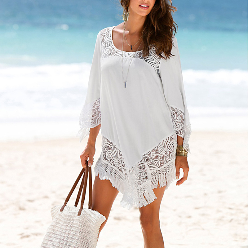 Swim Cover up Beach Tunic Swimsuit Shawl for Beach 2019 Bathing suit Cover ups Lace Bikini Cover up Saida de Praia Beach wear