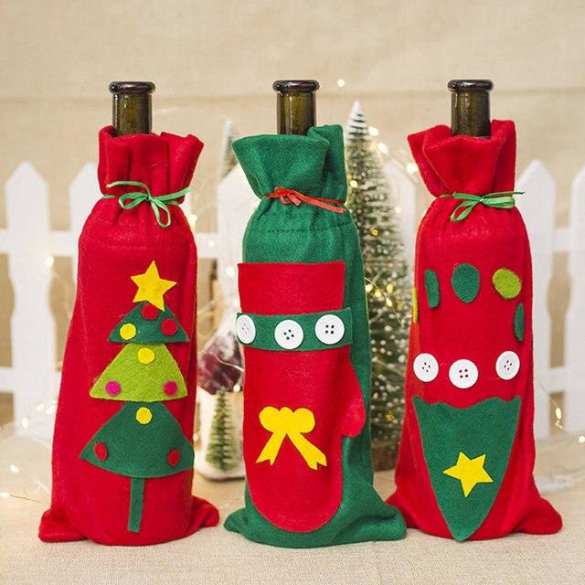Christmas Gift Bags Wine Champagne Bottle Covers Santa Reindeer ...